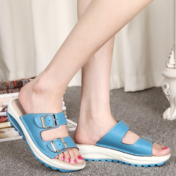 Women Leather Pure Color Peep Toe Platform Wedge Heel Hook Loop Sandals