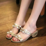 Summer Hot Fashion Chunky Heels Crystal Shiny Causal Sandals Slippers