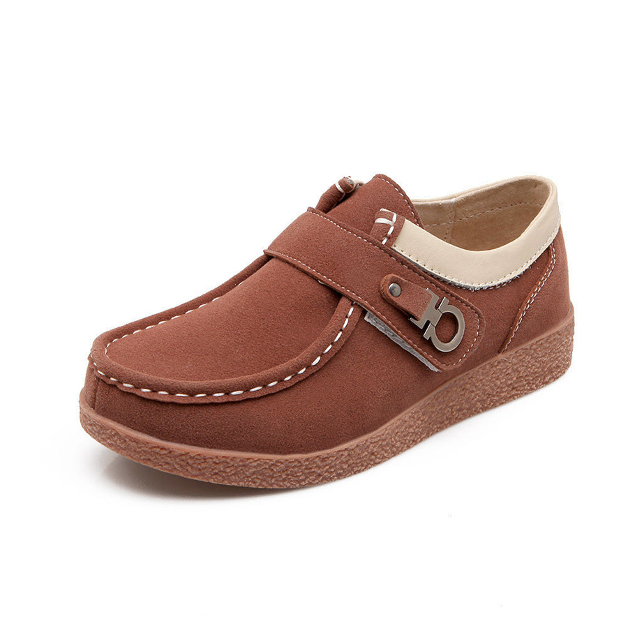 CLEARANCE-Leather Casual Metal Flat Soft Sole Hook Loop Oxford Shoes - MagCloset