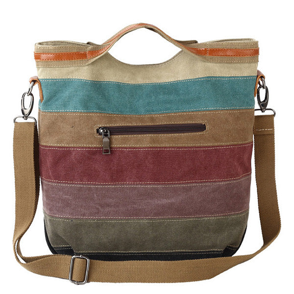Color Stitching Canvas Tote Large Capacity Strap Shoulder Crossbody Bag - MagCloset