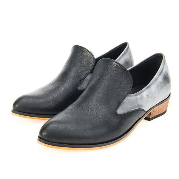 Color Block Paneled Slip On Loafers - MagCloset
