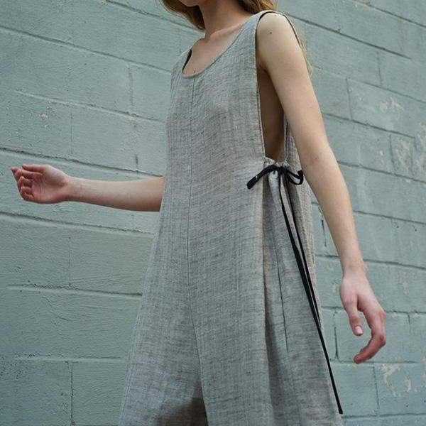 Casual Linen Round Neck Solid Sleeveless Jumpsuits