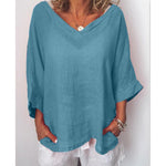 V Neck Cotton Linen Plain Blouse