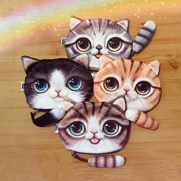 Women Cute Purses 3D Cartoon Cat Pattern Coin Purse