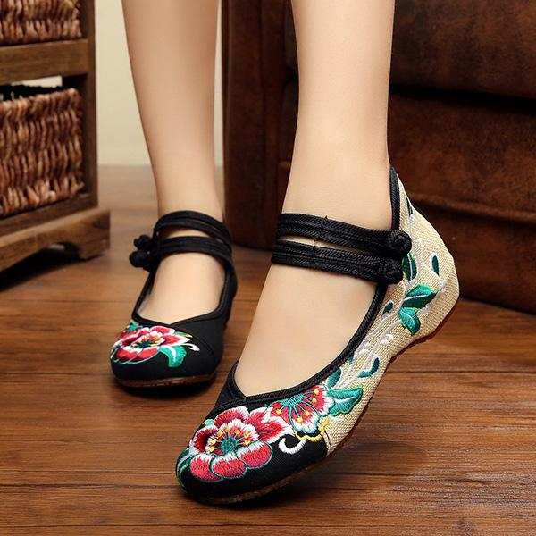 CLEARANCE-Women Comfy Floral Embroidery Chinese Knot National Wind Lace Up Flat Shoes