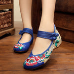 CLEARANCE-Women Comfy Floral Embroidery Chinese Knot National Wind Lace Up Flat Shoes - MagCloset