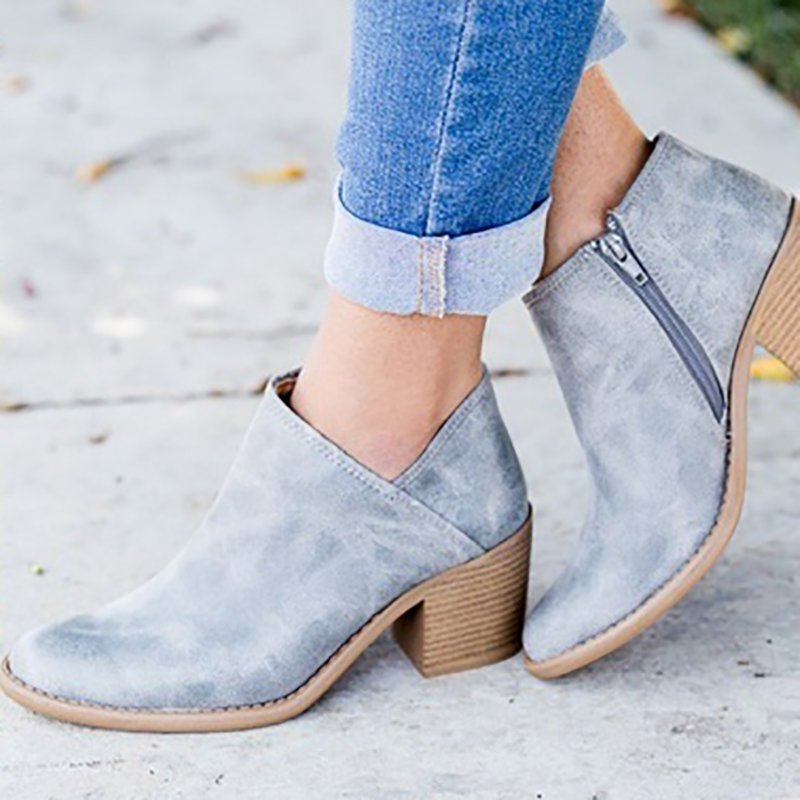 Fashion Ankle Boots Zipper Pointed Toe Chunky Booties