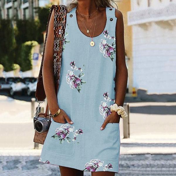 Casual Flower Printed Sleeveless Dresses