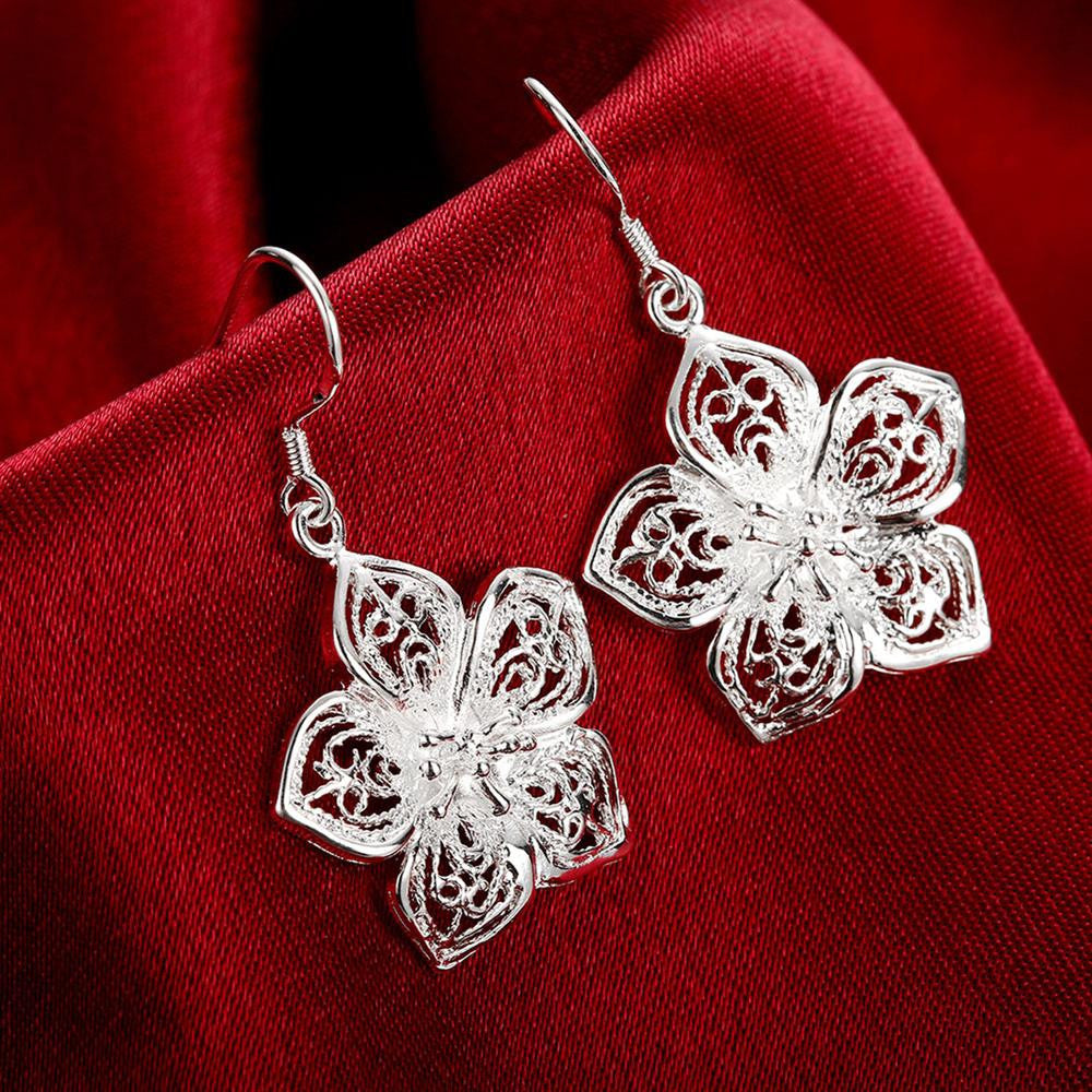 Simple Fashion Silver Flower Drop Earrings
