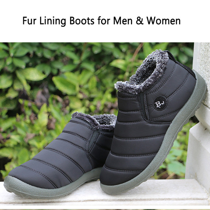 Warm Fur Lining Slip On Flat Ankle Snow Boots For Men & Women
