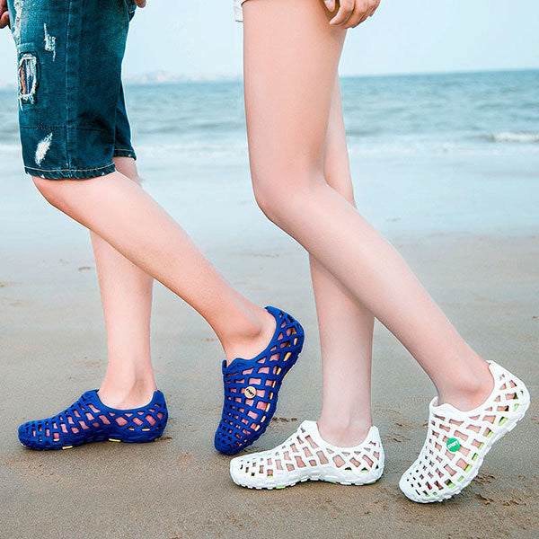 Breathable Hollow Out Pure Color Flat Casual Beach Sandals - MagCloset