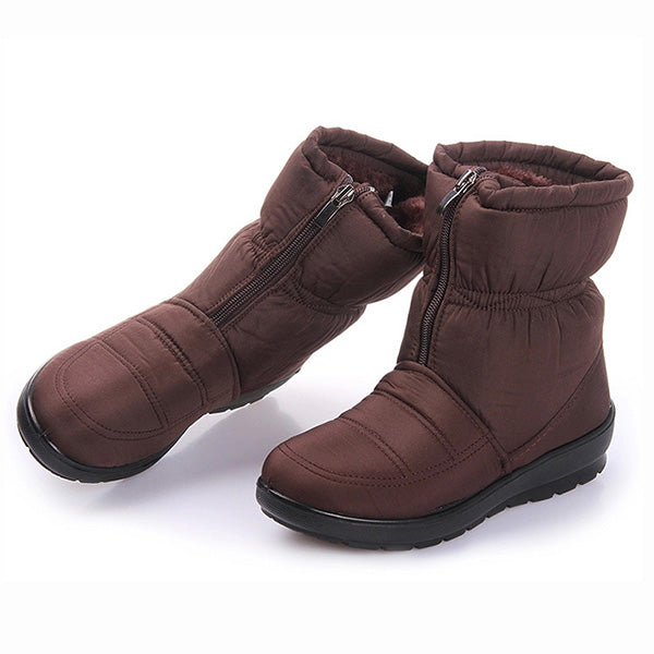 US5-11 Waterproof Non-Slip Warm Fur Zipper Snow Boots For Women