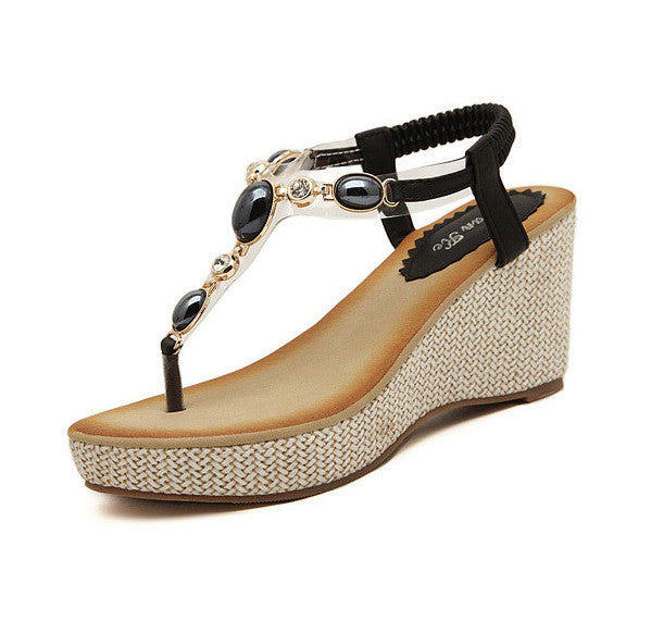 Women's Fashion Sweet Bohemia Crystal Wedge Sandals