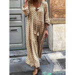 Women Shift Boho Floral Maxi Dress Long Sleeve Daily Dress