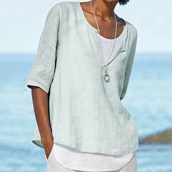 Casual Solid Color V Neck Blouse