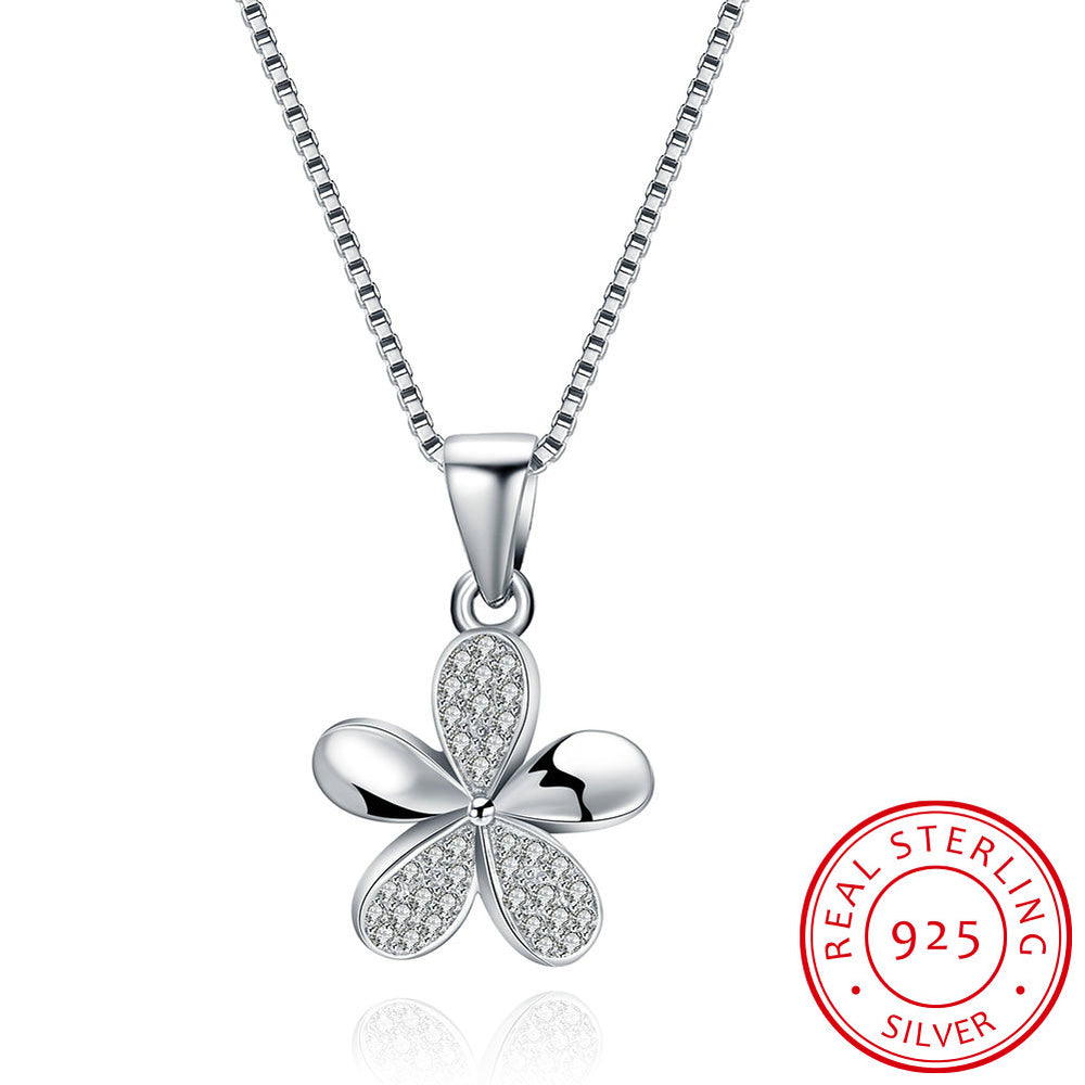 925 Sterling Silver Five-Leaf Clover Pendant Necklace