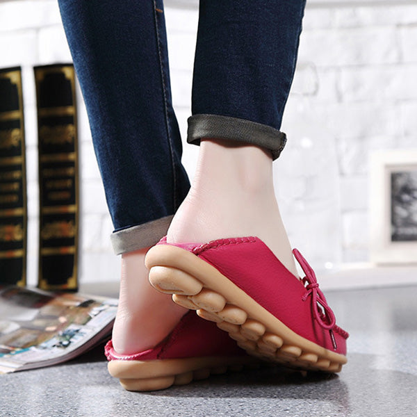 Pure Color Slip On Lace Up Soft Sole Comfortable Flat Loafers