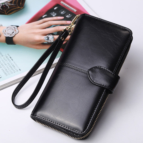 Women's Oil Wax Leather long Wallet Large-Capacity Clutch
