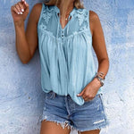 Chiffon Sleeveless Lace Blouse - MagCloset