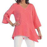 Irregular V Neck Solid Color Blouses
