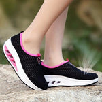 Mesh Breathable Slip On Platform Casual Sport Shake Rocker Bottom Shoes