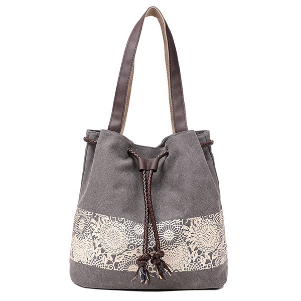 Womens Canvas Single Shoulder Bag Printed Vintage Casual Drawstring Handbag