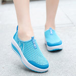 Size US5-US11 Platform Casual Sport Mesh Breathable Shake Rocker Bottom Shoes