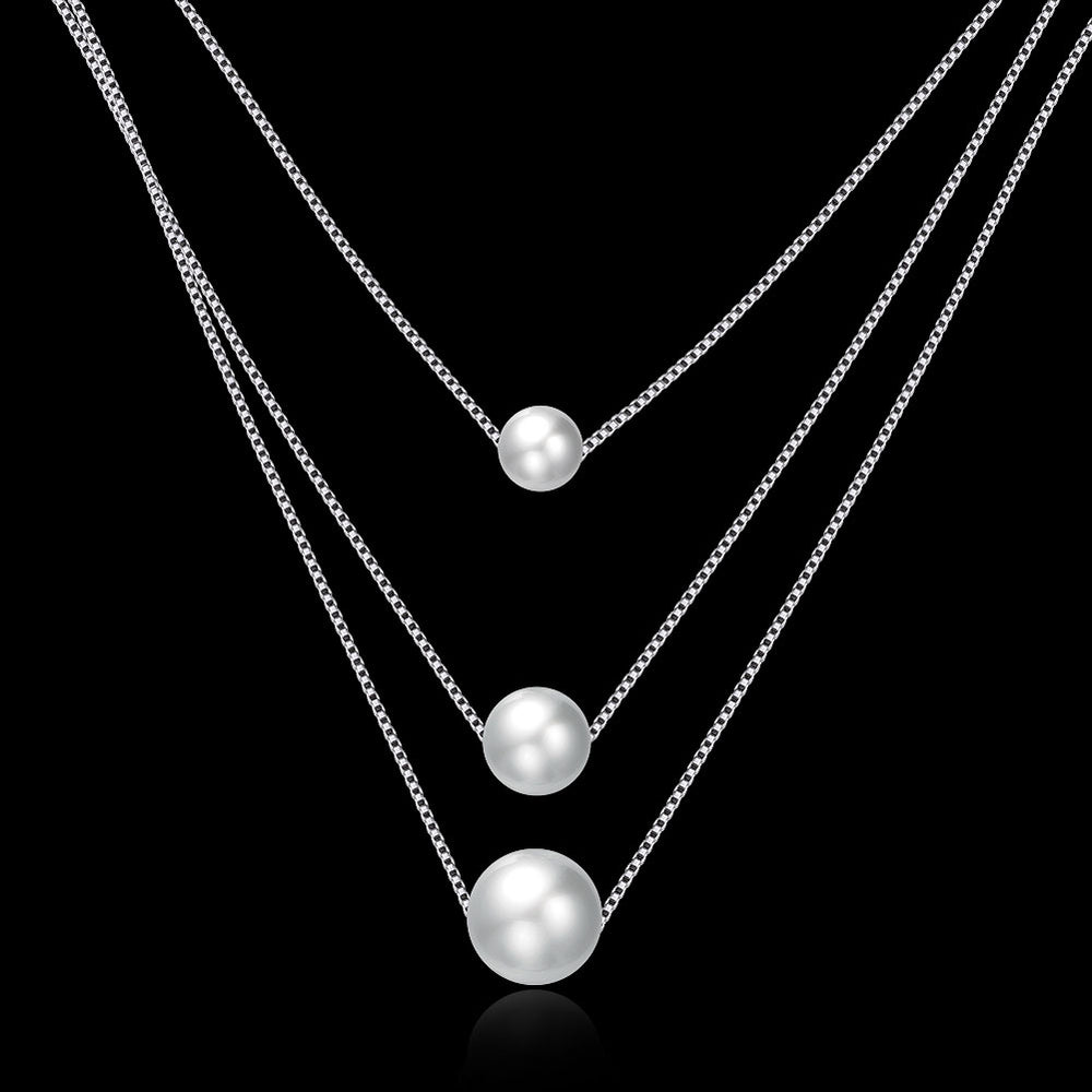 3 Pearls 925 Sterling Silver Necklace - MagCloset