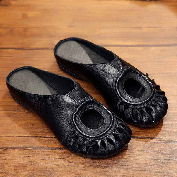 Retro Casual Genuine Leather Hollow-out Cosy Flat Sandals Slippers