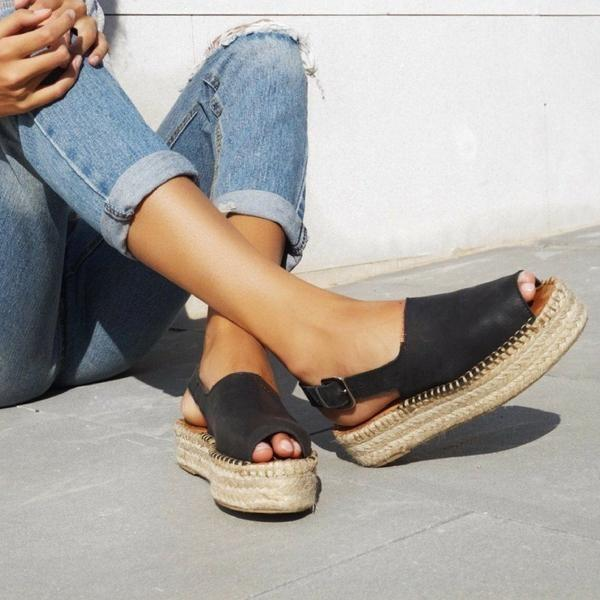 Summer Buckled Sandals Espadrilles Platform Sandals
