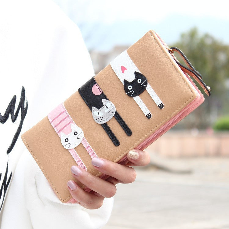 CLEARANCE-Women 3 Cats Long Wallet Girls Cute Animal Printing Purse Card Holder Coin Bags