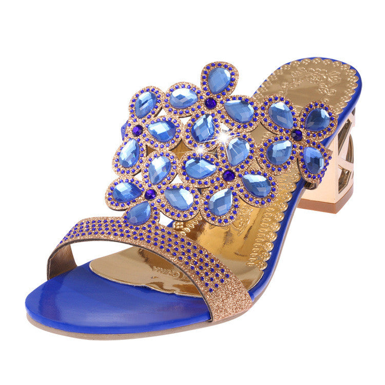 Sexy Women Sandals Summer Ladies High Heels Shoes Gold Pumps Slippers