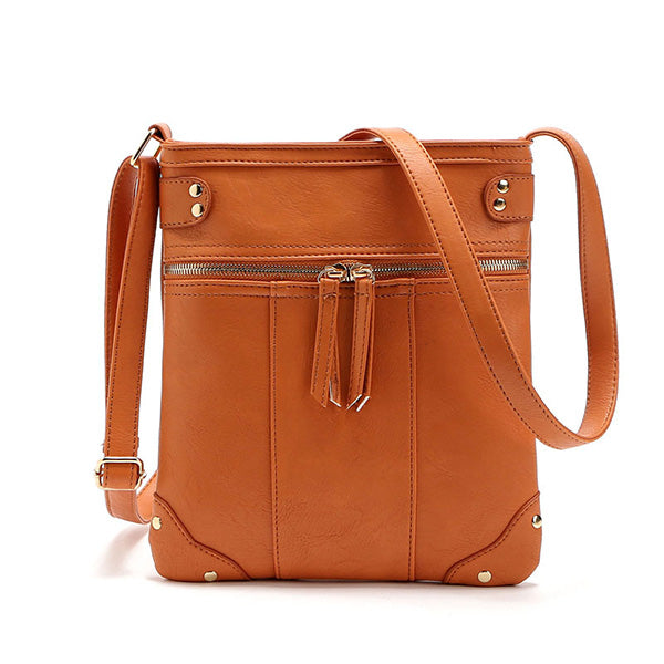 Retro Front Copper Zipper Pocket Crossbody Messenger Bag