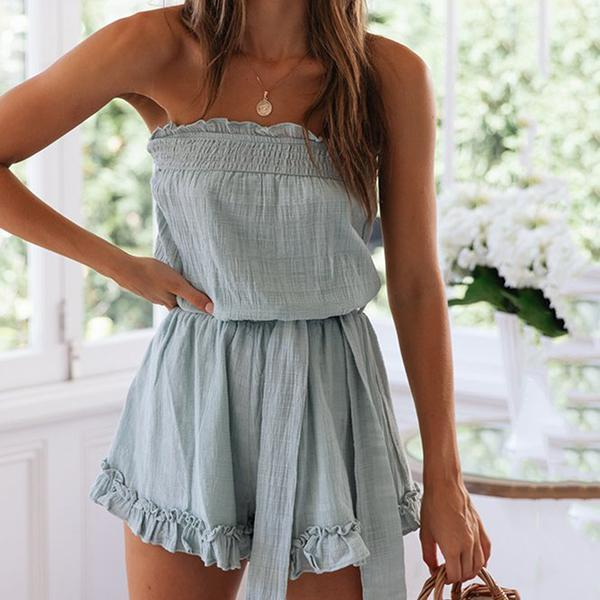 Casual Boot Neck Lace-up Solid Color Jumpsuits