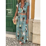Floral Printed Shirt Collar Short Sleeve Maxi Dresses