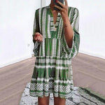 Bohemian V Neck 3/4 Sleeve Dresses