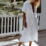Fashion Button Fly Lapel Neck Jumpsuits