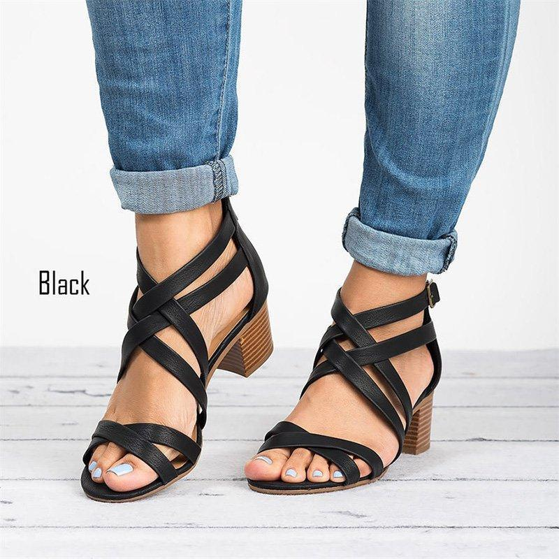 Chunky Heeled Buckled Sandals