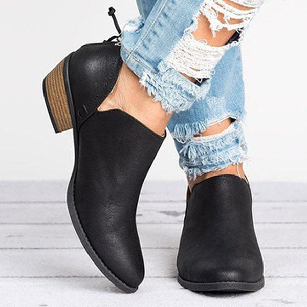 Casual Chunky Heel Short Boots - MagCloset