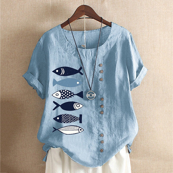 Button Cartoon Fish Printed Cotton Linen Short Sleeve T-shirt