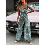 Printed Backless Slim Wide Leg Jumpsuits