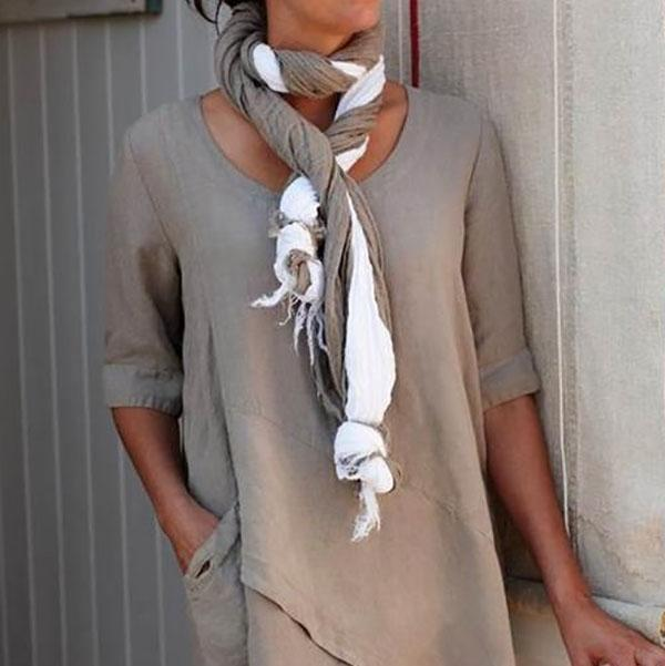 Solid Color Half Sleeve O-Neck Blouse