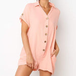 Solid Color V Neck Button Short Jumpsuits