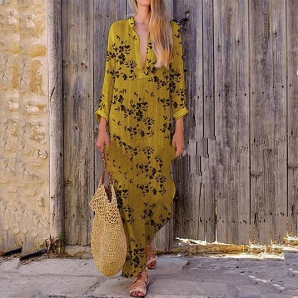 Casual Printed Colour Plus Size V Neck Summer Maxi Dresses