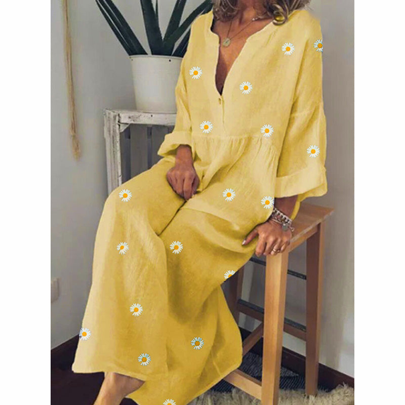 Daisy Printed Long Sleeves Loose Dress