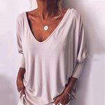 Plus Size V Neck Loose Blouse