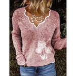Dandelion Pattern V-neck Sweaters