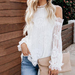 Sexy Strapless Crew Neck Lace Blouse