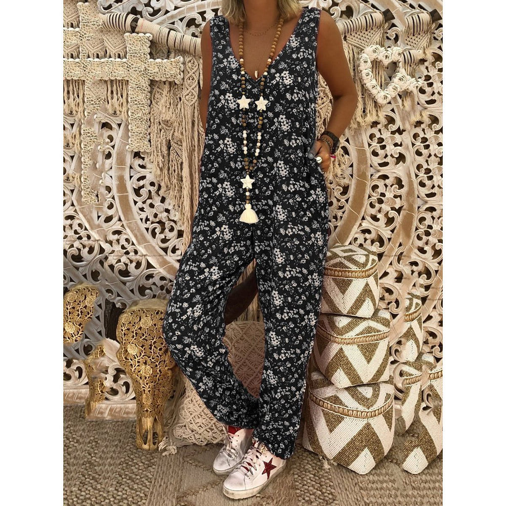 Retro Pockets Sleeveless V-neck Jumpsuits