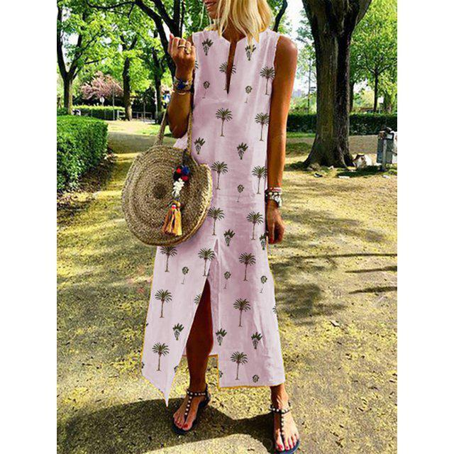 Summer Crew Neck Women Dresses Shift Daily Leaf Printed Dresses